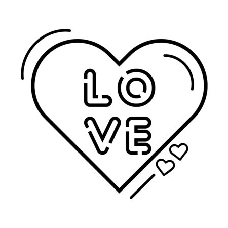 love lettering in heart isolated icon vector illustration design