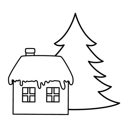 house with snow and pine tree christmas line style vector illustration design