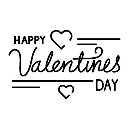 happy valentines day lettering with hearts decoration vector illustration design