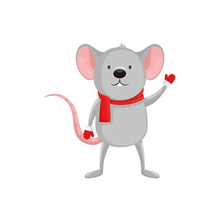 merry christmas cute mouse character vector illustration design