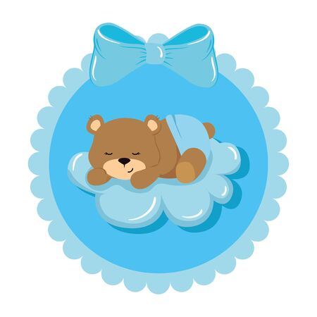 cute teddy bear female in lace frame vector illustration design