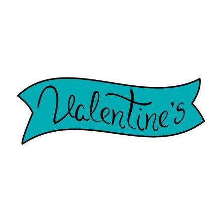 valentines lettering in ribbon decoration vector illustration design Ilustrace