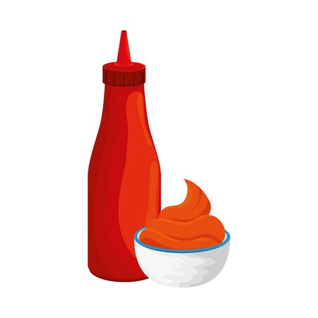 delicious sauces in bottle and cup isolated icons vector illustration design 向量圖像