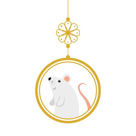 cute rodent rat in decoration chinese hanging vector illustration design
