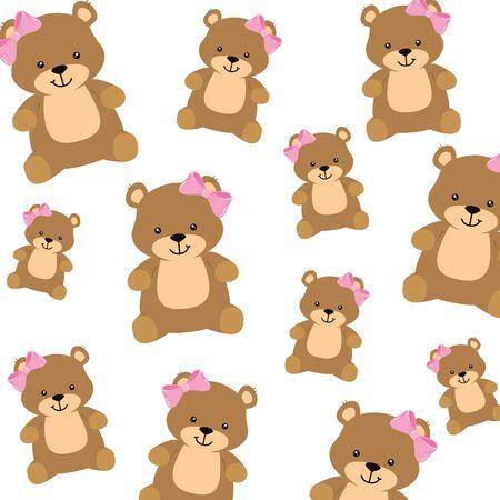background of cute teddy bears female vector illustration design