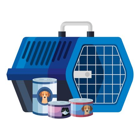 pet carry box with food for cats and dogs in can vector illustration design