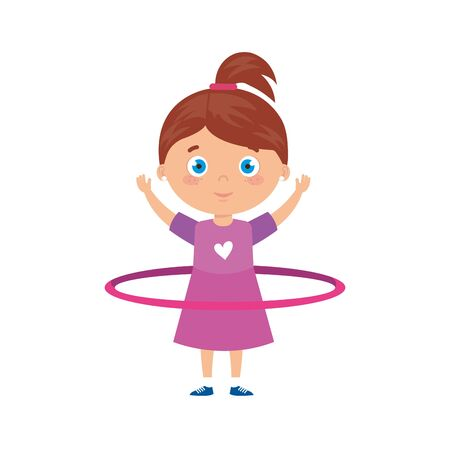 cute little girl playing hula hula isolated icon vector illustration design