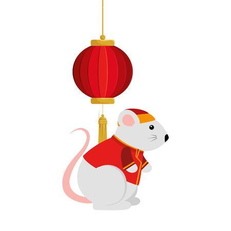 cute rodent rat with decoration chinese hanging vector illustration design