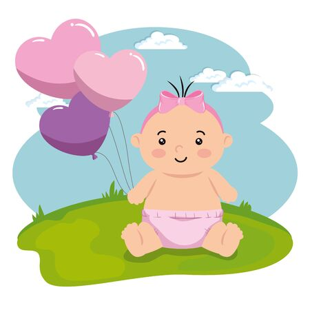 cute little baby girl with balloons helium in landscape vector illustration design