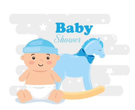 baby shower card with baby boy and decoration vector illustration design