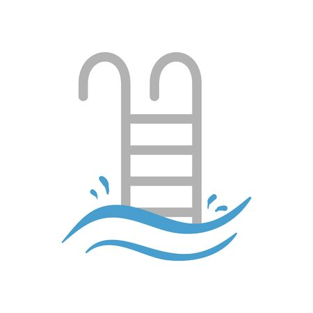 Hotel pool and ladder icon design of travel service reception room resort accommodation motel lobby and vacation theme Vector illustration