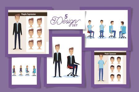 five design of elegant business people vector illustration design Archivio Fotografico - 140978828