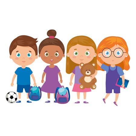 group of little children with school bag and toys vector illustration design Archivio Fotografico - 140979177