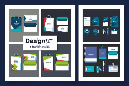 Six designs of corporate identity objects of Brands business company style ad publishing and office theme Vector illustration