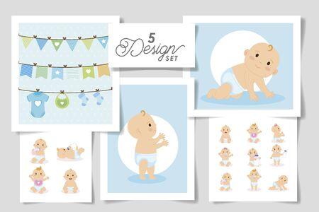 set five designs of baby shower for boy vector illustration design Vectores