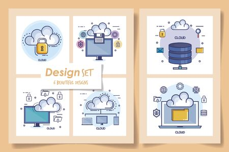six designs of data center and icons vector illustration design Иллюстрация
