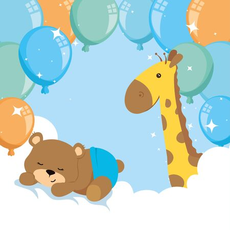 cute bear and giraffe with balloons helium decoration vector illustration design