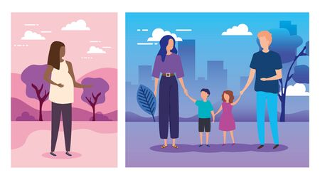 set scenes of parents with sons in park nature vector illustration design 矢量图像