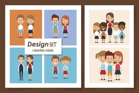 six designs of scenes little students vector illustration design