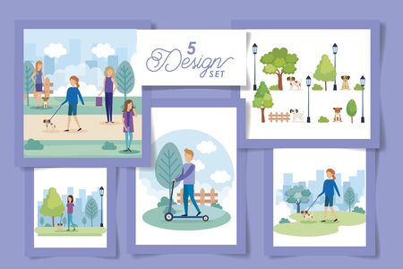 five designs of people with mascots in the park vector illustration design