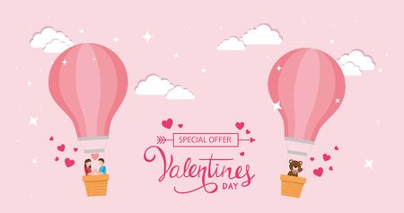 happy valentines day with balloons air hot and decoration vector illustration design 矢量图像