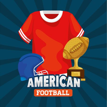 poster of american football with shirt helmet and trophy icons vector illustration design
