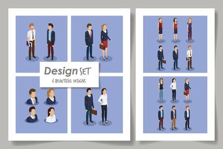 six designs of business people scenes vector illustration design