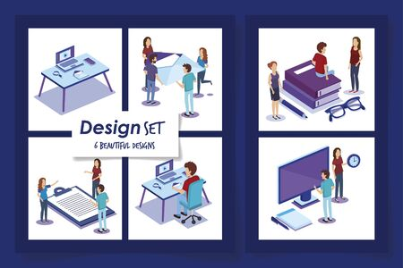 six designs of people with office equipments vector illustration design Illusztráció