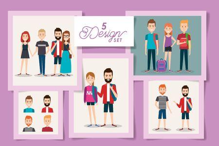 five designs of young students vector illustration design Illusztráció