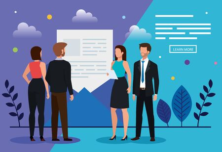 meeting of business people with envelope vector illustration design