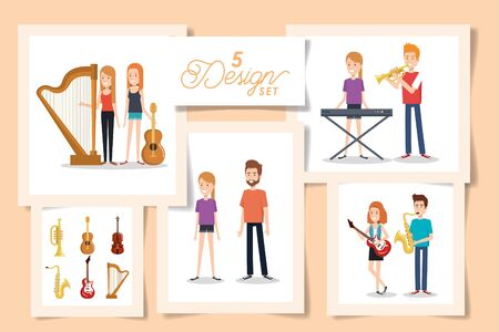 five designs of young people with instruments musical vector illustration design Illusztráció