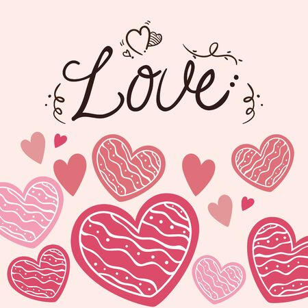 valentines day card with love lettering and decoration vector illustration design 矢量图像
