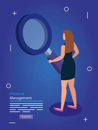 financial management with woman and magnifying glass vector illustration design Illusztráció