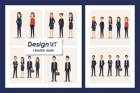 six designs of scenes business people vector illustration design Illusztráció