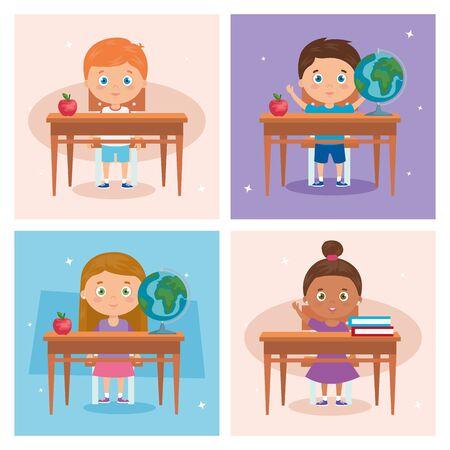 set scenes of little children in wooden desk vector illustration design 矢量图像