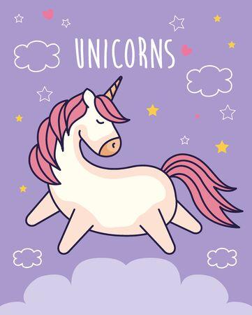 cute unicorn fantasy with cute decoration vector illustration design