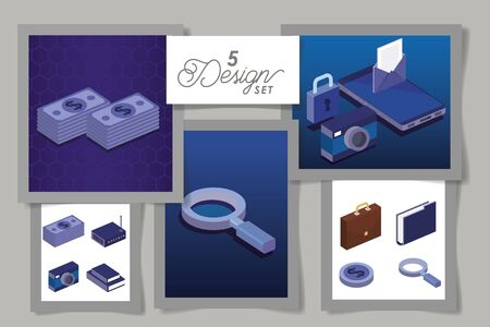 five designs of digital technology vector illustration design