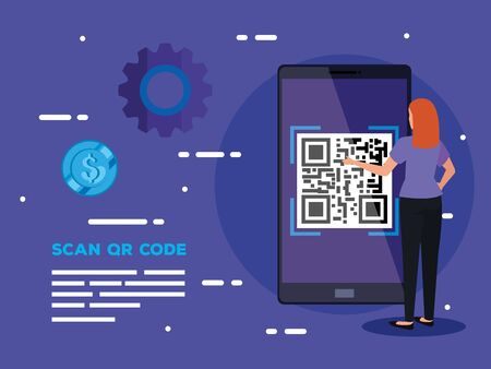 smartphone scan code qr with business woman and icons vector illustration design