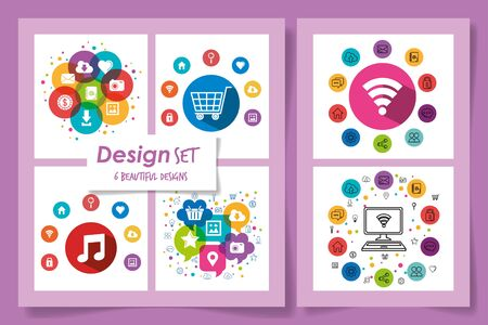 six designs of social media marketing icons vector illustration design