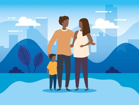 parents afro with son in the park vector illustration design