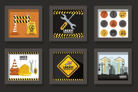 bundle designs of under construction and icons vector illustration design