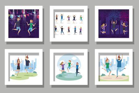 bundle of scenes people celebrating with decoration vector illustration design