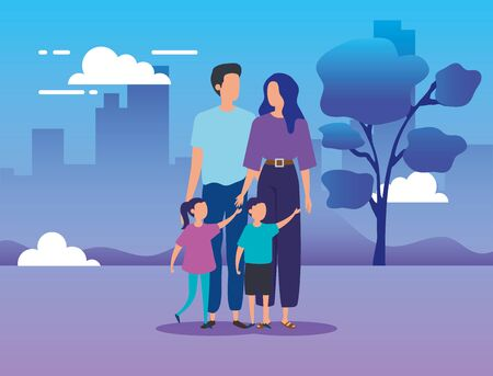 parents with sons in the park vector illustration design