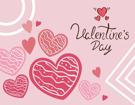 valentines day card with hearts decoration vector illustration design