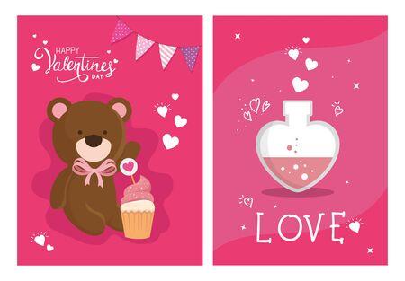 set cards happy valentines day with decoration vector illustration design 矢量图像