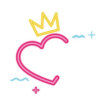 cute heart love neon light isolated icon vector illustration design