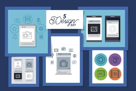 five designs set of smartphone and social media icons vector illustration design