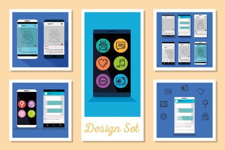 designs set of smartphone and social media icons vector illustration design