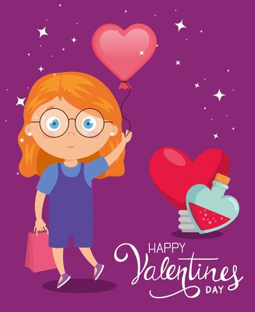 happy valentines day card with cute girl and decoration vector illustration design