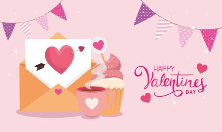 happy valentines day with envelope and decoration vector illustration design